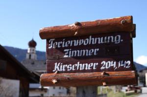 Holzschild Ferienwohnung Zimmer Pitztal Tirol